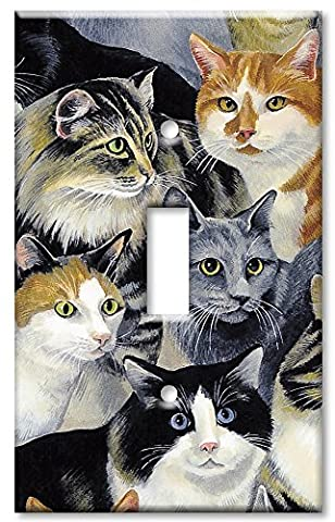 Art Plates - Single Gang Toggle OVERSIZE Switch Plate - Just Cats! - Oversize Light Switchplates