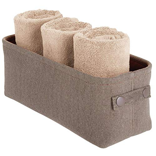 mDesign Soft Cotton Fabric Bathroom Storage Bin with Coated Interior and Handles - Organizer for Towels, Toilet Paper Rolls - for Closets, Cabinets, Shelves - Textured Weave - Small - Espresso Brown