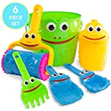 Play Platoon Kids Sand Toys Frog Bucket Set - Beach Toy Set with Bucket, Shovel, Rake, Sifter, Watering Can and More for Boys, Girls & Toddlers