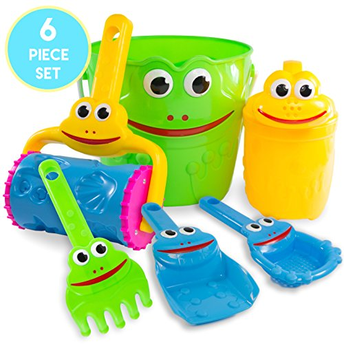 Price comparison product image Kids Sand Toys Frog Bucket Set - Beach Toy Set with Bucket,  Shovel,  Rake,  Sifter,  Watering Can and More for Boys,  Girls & Toddlers