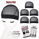 5 Pack Black Dome Cornrow Wig Caps Elastic Nylon Breathable Black Mesh net for Black women and Men Medium Size