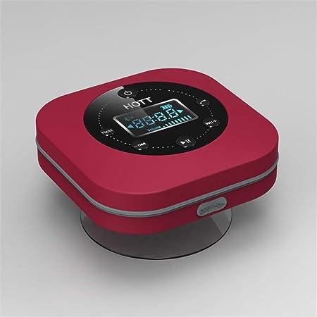 Fengclock Wasserdichter Lautsprecher Badezimmer Uhr Tragbar Bluetooth Lautsprecher Radio Wecker Badezimmer Saugnapf Wanduhr Digital Funkuhr Red Amazon De Kuche Haushalt