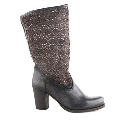 Felmini - Zapatos para Mujer - Enamorarse com Astromeia 7964 - Botas Altas con tacones - Tela + Cuero Genuino - Negro - 0 EU Size Negro