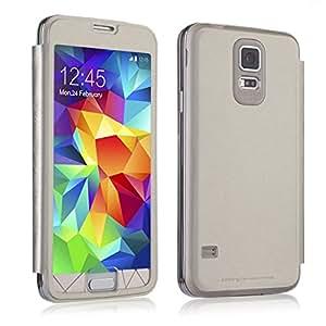 ANDYES Carcasa Cuero del tirón la cubierta protectora Caso Tapa Cartera Funda Case Para Samsung Galaxy S5 I9600 Blanco