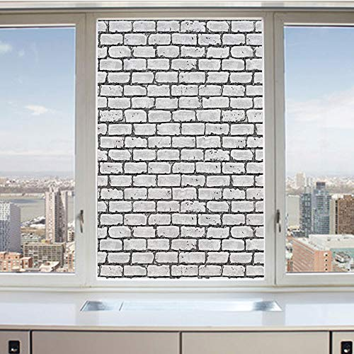 3D Decorative Privacy Window Films,Grunge Brick Wall Background Urban Architecture Building Modern City Life Graphic Decorative,No-Glue Self Static Cling Glass film for Home Bedroom Bathroom Kitchen O ()