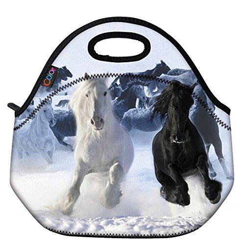 Price comparison product image ICOLOR Running Horse Boys Insulated Neoprene Lunch Bag Tote Handbag lunchbox Food Container Gourmet Tote Cooler warm Pouch For School work Office