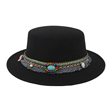 Image Unavailable. Image not available for. Color  WaiiMak Women Wide Brim  Wool Belt Felt Flat Top Fedora Hat Party Church Trilby Hats Cap c00a48eb7ed9