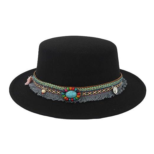 0788918d356 JESPER Women Wide Brim Wool Belt Felt Flat Top Fedora Hat Party Church  Trilby Hats Cap