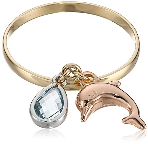 14k Two-Tone Gold with Dolphin and Pear Shaped Sky Blue Topaz Dangle Ring, Size 7