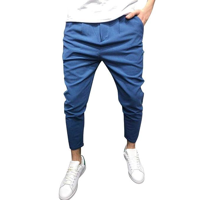 ♚ Pantalones de Las Polainas para los Hombres, Pantalones de chándal de los Hombres Pantalones Casuales Elásticos Joggings Sólido Bolsos Holgados ...