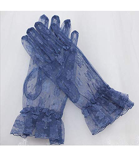 YCShun Women's Short Lace Bridal Wedding Party Gloves Vintage Lace 2019 Tea Party Prom Evening Gloves Navy