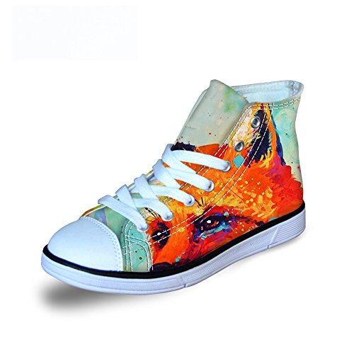 - FOR U DESIGNS Casual Fox Print Children Canvas Lace Up Comfortable Running Sneaker US 3
