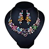Girl Era Stunning Charm Austrian Crystal Butterflies Gold Tone Statement Necklace Sets Clear