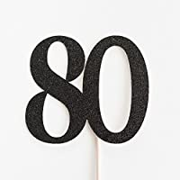 Black Glitter 80 Cake Topper, 80th Anniversary, Eightieth Birthday, Eighty