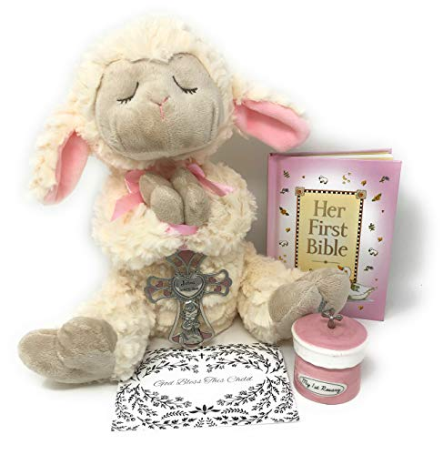 Baptism Gifts for Baby Girl Gift Set – This Set of Christening Gifts for Girls Includes The Ganz Serenity Lamb, Along with Her First Bible and Rosary – A Precious Gift for Your Precious Baby Girl