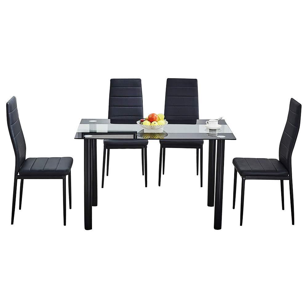 Sillas De Piel Para Comedor.Juego De Sillas De Comedor De Cristal Negro Moderno 4 Chairs