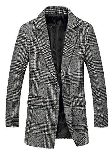 DigerLa Men's Fashion Tow Button Lapel Woolen Plaid Blazers Trench Coat Overcoat