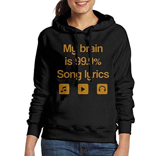 Grhoodie1 My Brain Is 99% Song Lyrics Women's Cotton Long Sleeve Pullover Hooded Sweatshirt Black Size XL
