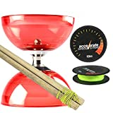 Red Cyclone Quartz 2 Diabolo Set w/ Wooden Diablo Sticks & Accelerate Diabolo String