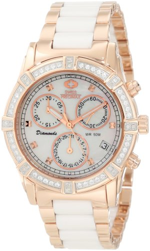 Swiss Precimax Women's SP12078 Desire Elite Ceramic Diamond Mother-Of-Pearl Dial Watch