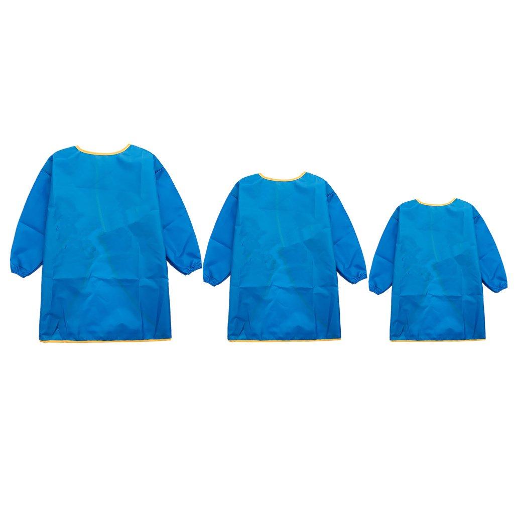 MagiDeal Blau Kinder Malkittel - Kinder Bastelkittel - Kinder Schürze - Malschürze mit langarm - Set/3Stück