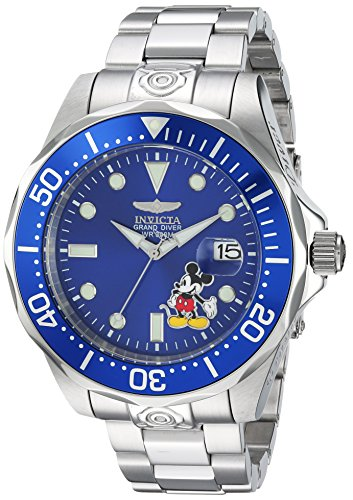 Invicta Men's Disney Limited Edition Automatic-self-Wind Diving Watch with Stainless-Steel Strap, Silver, 22 (Model: 24497)