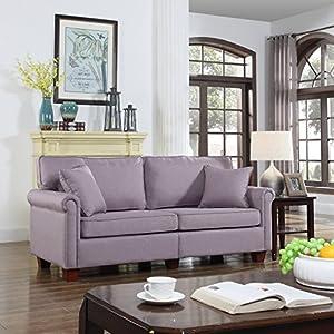 living room loveseat. Classic 73 inch Love Seat Living Room Linen Fabric Sofa  Light Grey Amazon com