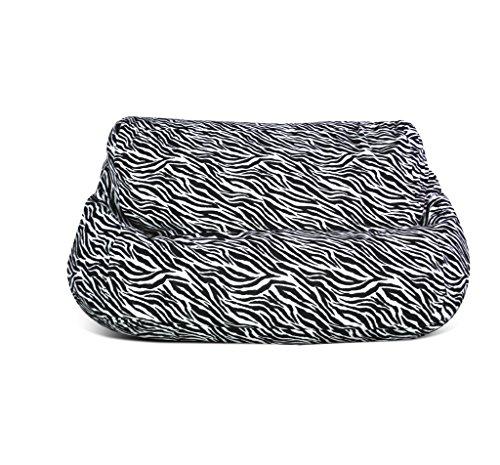 Jordan Manufacturing BB2SPK1-Zebvel Velvet 2 Seater Zebra Print Bean Bag Chair - Velvet Bean Bag