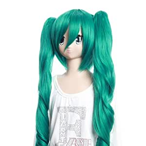SureWells Cosplay WigsVocaloid Miku Green Wigs with Two Long Curly Ponytails Party Wigs Lovely Costume Wigs