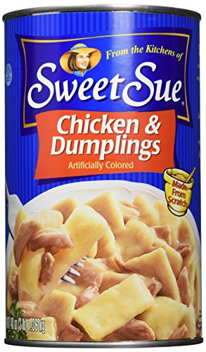 SWEET SUE Chicken and Dumplings, 48 Ounce Cans (Pack of 6), Canned Food