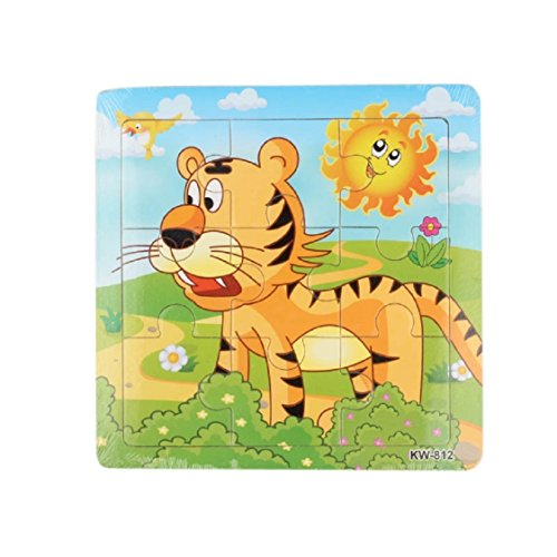 Ikevan 1Set Hot Selling 9 pieces of Wooden Cute Animal Jigsaw Puzzle Educational toys for Kids Baby 1-3 Years Old (Tiger)