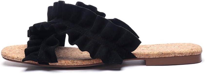 xinghui Infradito da Donna La Sabbia trasversale può trascinare giù con le pantofole piane per le pantofole da spiaggia Estate-Nero_40.