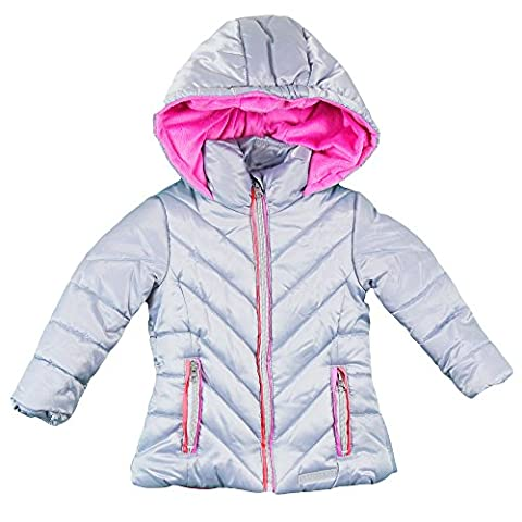 London Fog Toddler Girls' Satin Quilted Puffer Jacket Coat, Silver, 3T - Satin Puffer