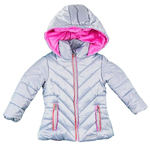 London Fog Toddler Girls' Satin Quilted Puffer Jacket Coat, Silver, 3T