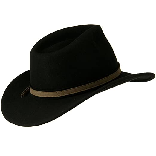 acf6584819395 Jeanne Simmons Outback Wool Felt Fedora Hat with Feather - Black W18S31F at  Amazon Men s Clothing store