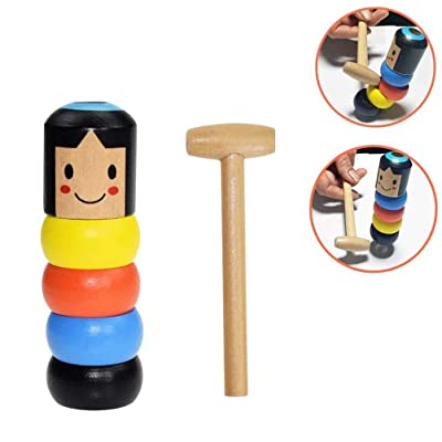 Eforoutdoor Unbreakable Wooden Man Magic Toy, Stubborn Wood Man Magic Tricks Props Toys for Children Kids Halloween Christmas New Funny Wooden Magic Toys Gift: Toys & Games