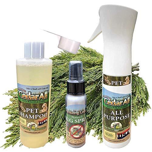 Amazing Cedar Natural Pet Wash Shampoo & Cleaning Kit. Includes Natural Shampoo, All Purpose Cedar Pet Cleaner & Bug Spray for Ticks, Fleas & More.
