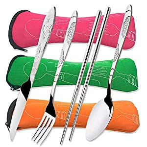 3 Pack Stainless Steel Flatware Sets, CKANDAY 12 Pcs Knife Fork Spoon Chopsticks Set with Carrying Case Rustproof Tableware Silverware for Traveling Camping Picnic Working Hiking-Red/Green/Orange