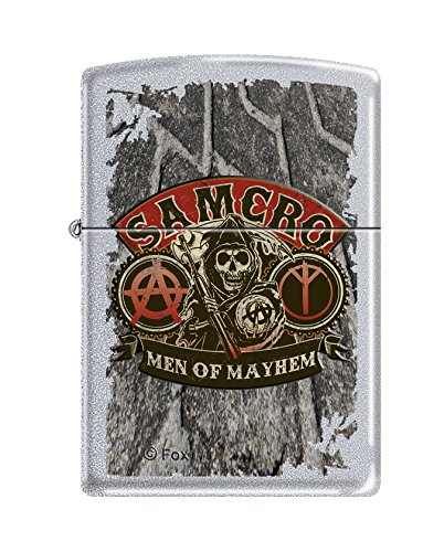 (Zippo Sons of Anarchy Men of Mayhem Satin Chrome Pocket Lighter)