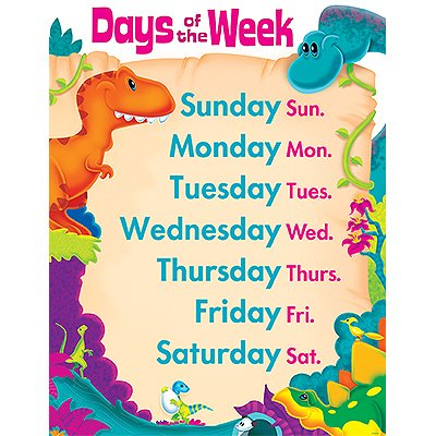 22' Classroom Decoration (Days of the Week Dino-Mite Pals Learning Chart)