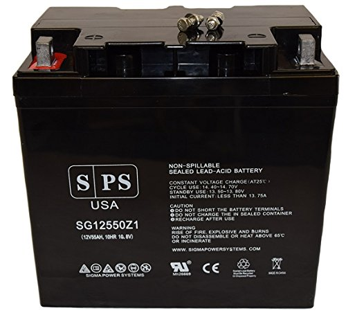 12V 55AhMerits Health Products P181-P182 MP11 Travel Ease Wheelchair Batteries Group 22NF Wheelchair Replacement Battery SPS Brand by SPS