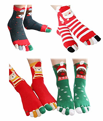 Christmas Socks Christmas Decoration Toe Socks Striped Snowflake Reindeer Bear 4 Pack ()