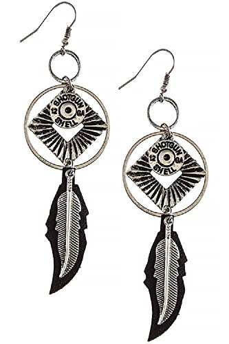 Southwestern Style Bullet Casing Feather Drop 316L Surgical Steel Freedom Fashion Earrings (Lonesome Cowboy Costume)
