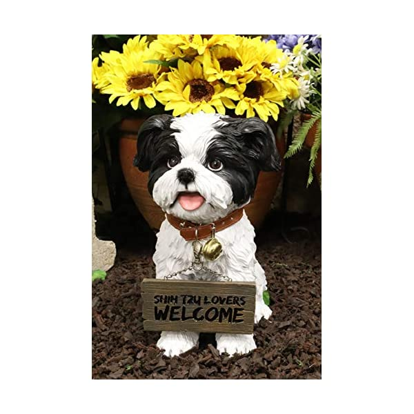 """Ebros Adorable Lifelike Panting Shih Tzu Toy Dog Breed Statue With Jingle Collar Welcome Greeting Sign 11.25""""Tall Realistic Shih Tzus Puppy Home And Garden Decor Figurine Animal Pet Memorial Sculpture 1"""