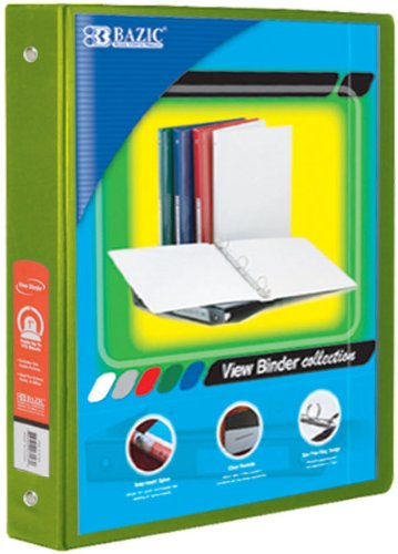 BAZIC 1'''' Lime Green 3-Ring View Binder w/ 2-Pockets Case Pack 12 Computers, Electronics, Office Supplies, Computing by Bazic