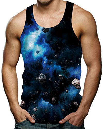 (Mens 3D Printed Graphic Tee Workout Shirts for Men Blue Galaxy Nebula Meteorite Stone Tank Top S)