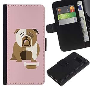 EuroTech - Samsung Galaxy S6 SM-G920 - Bulldog British English Cartoon Pink - Cuero PU Delgado caso Billetera cubierta Shell Armor Funda Case Cover Wallet Credit Card