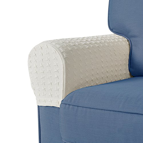 Guken Spandex Stretch Fabric Armrest Covers Anti-Slip Furniture Protector Sofa Armchair Elastic Sofa Stretchable Furniture Protector Slipcovers for Recliner Sofa Set of 2 (Beige)