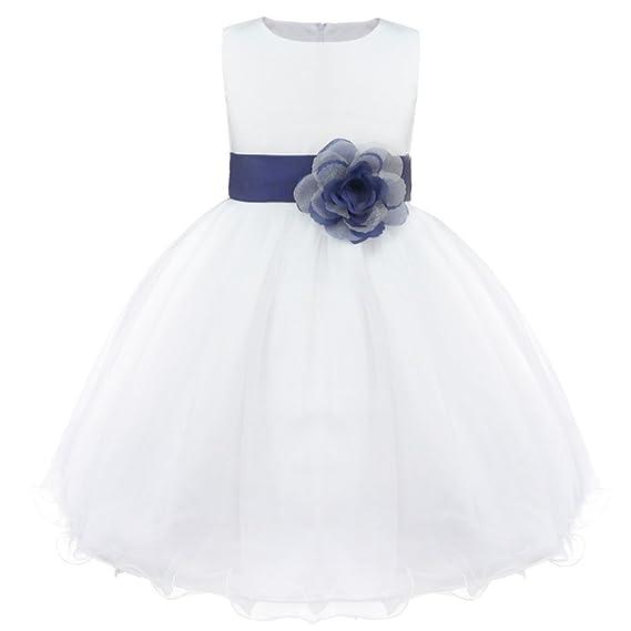 c853ef0eb9a1b Freebily Enfants Filles Robes de Princesse Cérémonie Mariage Parti Tenue  Fleur Robe Fille Grande Noeud Papillon sans Manches Tutu Jupe Blanc 2-14  Ans  ...