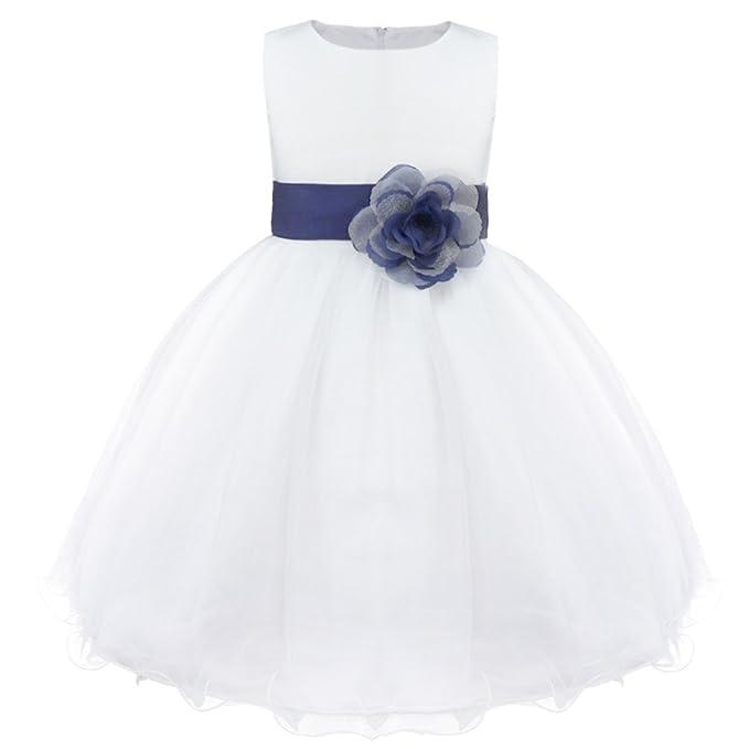 338de9e5a ranrann Vestido de Boda Novia Dama de Honor para Niña Vestido de Princesa  Tul Blanco Vestido Elegante de Bautizo Fiesta Comunión Party Dress 2-14  Años  ...